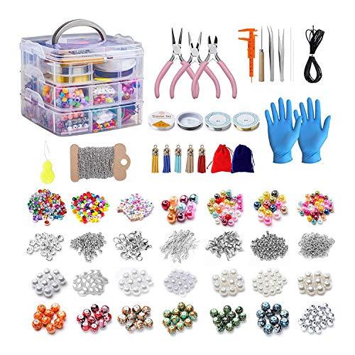 Timagebreze 2456 Pcs Jewelry Making Kit Tools Pliers Storage Box Necklace Earrings Bracelet Repair DIY Earplugs Beaded Materials