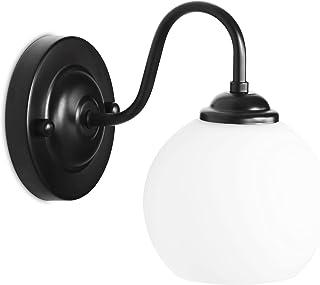 MantoLite Noir Verre Applique Murale, E27 Edison Ampoules Support de Lampe Applique Sconce Luminaire Industriel de Chevet ...