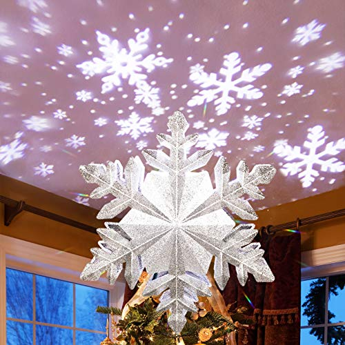 MAOYUE Christmas Tree Topper Lighted with Silver Snowflake Projector, Sliver Snow Tree Topper for Christmas Tree Decorations