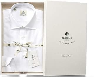 ルイジボレッリ ルイジボレリ LUIGI BORRELLI / 20SS!コットンカラミ織り無地セミワイドカラーシャツ「LUCIANO(9081)」 (ホワイト) メンズ