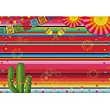 Allenjoy Mexican Fiesta Theme Colorful Stripes Backdrop Birthday Cinco De Mayo Luau Party Table Decoration Banner Mexico Festival Cactus 7x5ft Photography Background Photo Booth Props Supplies