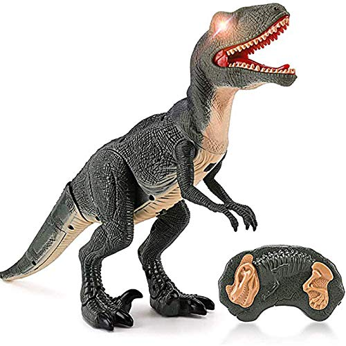 of moving dinosaurs dec 2021 theres one clear winner Liberty Imports Dino Planet Remote Control R/C Walking Dinosaur Toy with Shaking Head, Light Up Eyes & Sounds (Velociraptor)
