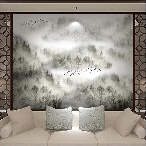 Papel pintado fotográfico 3D Tela no tejida Nube china Pinar Bosque Niebla Pino Zen Bird TV Sofá Pared-250175cm