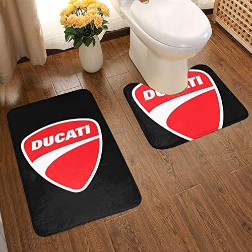 gshihuainingxianruanchaos Red Ducati Logo Badteppichmatten-Set rutschfest, 2-teilig, U-Form + Badteppich Antirutsch-Pads Badteppich Bad-Antirutsch-Pad