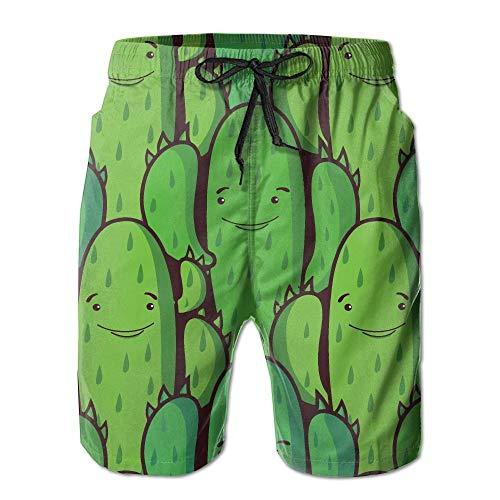 Kling Lustige grüne Kaktus-Männer/Jungen-beiläufige Badehose-Kurze elastische Taillen-Strand-Hosen mit Taschen,L