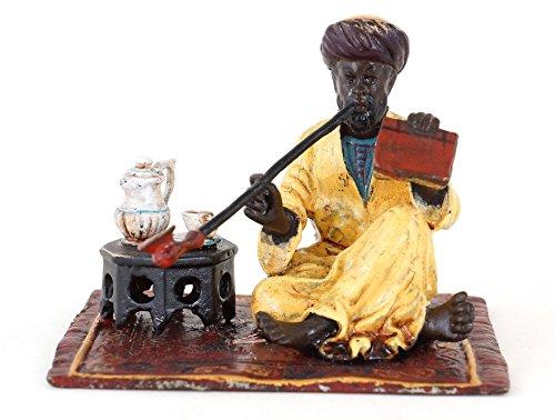 Kunst & Ambiente - Handbemalte Wiener Bronze - Rauchender Araber - Kaffeezeremonie - Orientalische Figur - Vienna Bronze - handbemalte Bronze - Orientalische Teppich Bronze