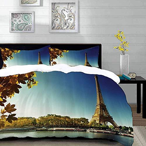 ropa de cama - Juego de funda nórdica, conjunto de la torre Eiffel de París, Sena en París con la torre Eiffel en otoño Season Leaves Skyline Riversi, conjunto de funda nórdica de microfibra con 2 fun