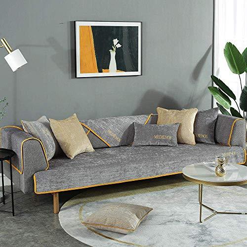 JXJ Einfarbig Chenille Besticktes Sofakissen Schnittsofabezüge Chenille Sofa Armlehnenbezug für Couch Sofa Arm Protector, grau, 90 * 90