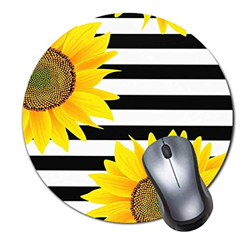 Gaming Mouse Pad,Round Mousepad with Non-Slip Rubber Base for Laptop Computer Desktop,Stripey Sunflowers Yellow Game Mouse mat