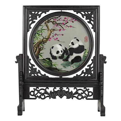 SISIZHANG Holz Ornamente Home Wohnzimmer Dekorationen Handwerk Ornamente Nette Panda Muster Ornamente Chinesischen Stil Geschenk Schwarz Bildschirm Dekoration
