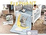 DreamPartyWorld Little Elephant Crib Set Baby Gift Shower Bedding Dumbo Nursery Boy Blue Stars 100% Cotton