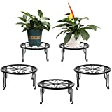 4 Pack Black Metal Potted Plant Stands for Indoor and Outdoor Plants 9.1 inches Flower Pot Planter Holder, Metal Rustproof Iron Garden Container Round Supports Rack for Planter Pumpkin Stand Outdoor