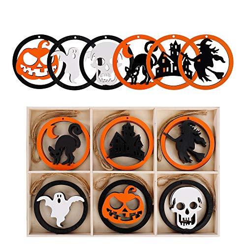 MengH-SHOP Adornos de Madera de Halloween Rebanadas de Madera Colorante Etiquetas Madera con Cuerdas de Hilo para Halloween 6 Formas 18 Piezas