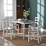 Panana Wooden Dining Table with 4 Chairs Sets Contemporary Dining Room Furniture Three Colors for Choose (White and Grey)