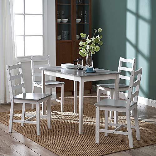 Panana Esstisch aus Holz mit 4 Stühlen, modernes Esszimmer-Möbel, drei Farben zur Auswahl (weiß und grau)
