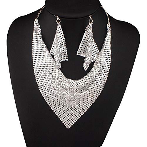 Juego de 2 piezas de accesorios de tela para mujer, diseño triangular, lentejuelas, dije, collar con babero y pendientes – plata