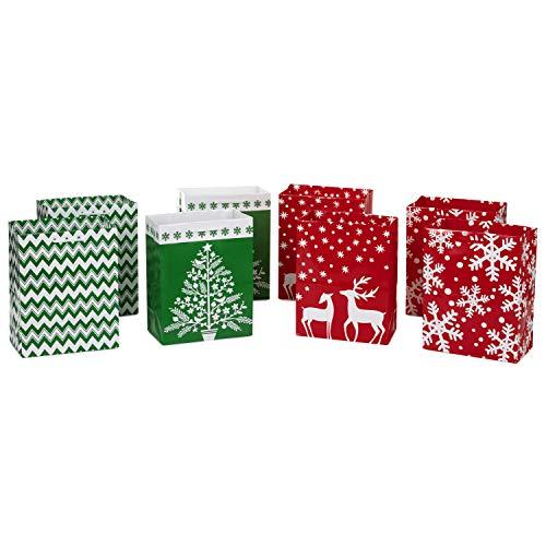 Image Arts - Bolsas de regalo para Navidad, diseño navideño, Iconos rojos y verdes, 8 unidades, Reindeer, 8 Pack, 1