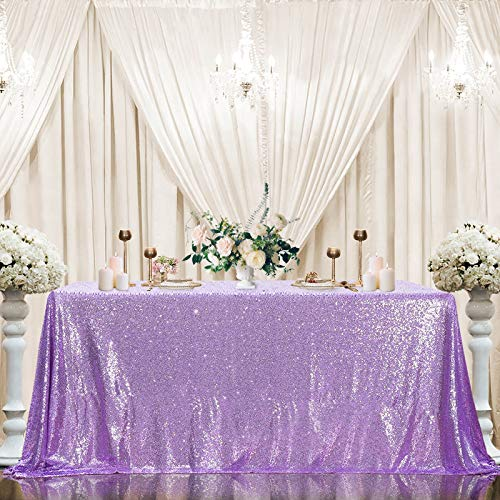 Sequin Tablecloth 60'x102' Sparkly Party Table Cloths Sequin Table Cover Overlay for Wedding Birthday Baby Shower Decorations Lavender
