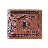 Fliyeong Los hombres Bolsillos de la tarjeta de dólar EE.UU. billete de dinero monedero plegable de la PU de la cartera del dólar de color marrón oscuro