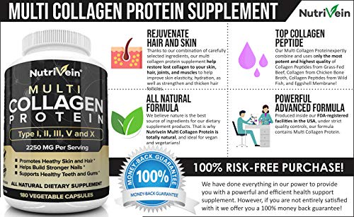 51FYITyVNLL - Nutrivein Multi Collagen Pills 2250mg - 180 Collagen Capsules - Type I, II, III, V, X - Anti-Aging, Healthy Joints, Hair, Skin, Bones, Nails, Hydrolyzed Protein Collagen Peptides for Woman and Men