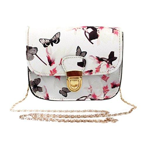 VJGOAL Damen Schultertasche, Frauen Mädchen Schmetterling Blumendruck Handtasche Schultertasche Messenger Mini Kleine Tasche Geschenk der Frau (17cm×14cm×7cm, Weiß)
