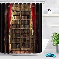 Amxxy パーソナライズされたカスタムシャワーカーテン、ハロウィーンの本棚、魔法の本、赤いカーテン、キャッスルバスカーテン、72 WX 72Lインチ