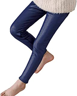 Runyue Kids Girls Faux Leather Leggings Winter Thick Warm Tight Pants Fleece Pencil Trousers