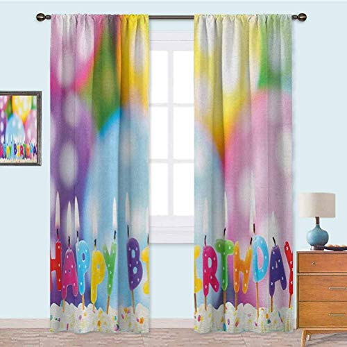 YUAZHOQI Blackout Curtains for Bedroom Celebration Colorful Candles on Party Cake with Abstract Blurry Backdrop Thermal Insulated Drapes for Kitchen 52' x 95' Multicolor