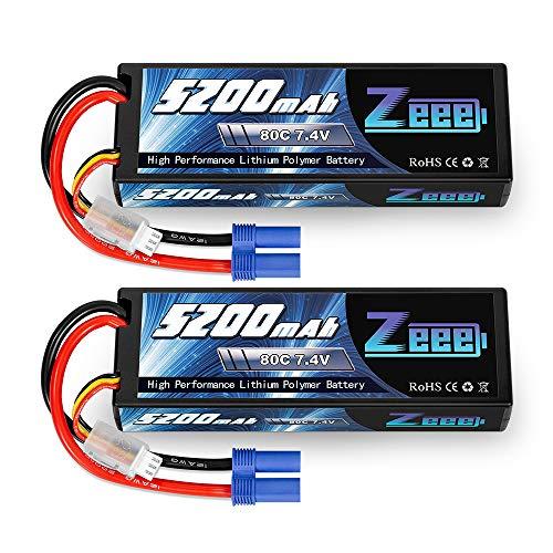 Zeee 2S Lipo Battery 7.4V 5200mAh 80C Hard Case Battery with EC5 Plug for 1/8 1/10 RC Vehicles Car Traxxas Slash X-Maxx RC Buggy Truggy RC Airplane Drone(2 Packs)