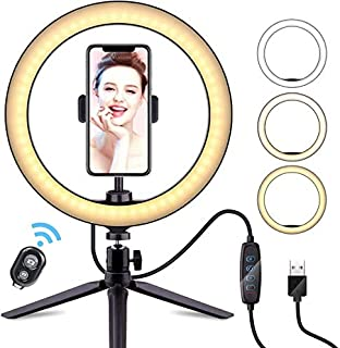 """10"""" Selfie LED Ring Light Stand Dimmable Makeup Video Shooting AU Phone Holder"""