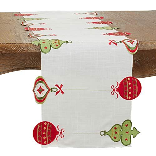 SARO LIFESTYLE 7172.W1672B Kema Collection Embroidered Ornaments Table Runner, 100% Polyester, White