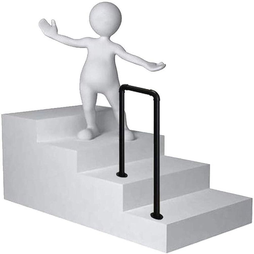 自動化起きる不利屋外ステップ用手すり、U字型錬鉄製滑り止め階段手すり、屋内および屋外廊下安全サポートバー用、黒 (Size : 55cm/1.8ft)