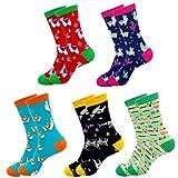 Jielucix Bunte Socken Damen Lustige Baumwolle Farbige Anzugsocken für Frauen 39-42 (5 Paare Bunte 219A)