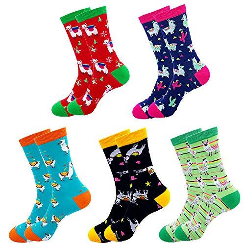 Jielucix Bunte Socken Damen Lama Lustige Baumwolle Farbige Anzugsocken für Frauen 39-42 (5 paare Lama, 5)