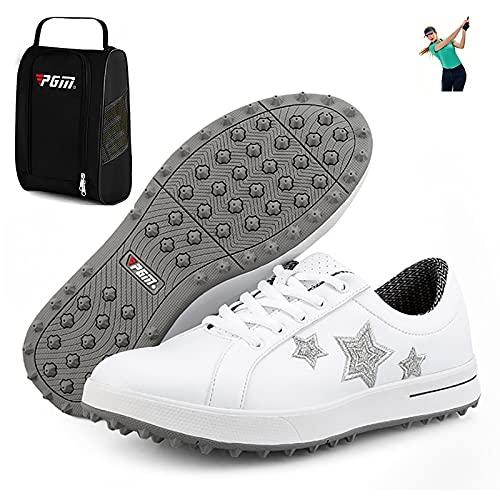 Scarpe da Golf per Donna - Borsa per Scarpe,Girls Golf Shoes Impermeabili Antiscivolo per Esterno Traspirante E Resistente all'Usura Fondo Morbido Senza Unghie, Scarpe Ginnastica,Style 2,5US