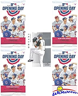 2018 Topps Opening Day MLB Baseball Lot of FOUR(4) Factory Sealed HOBBY Packs with 28 Cards Plus BONUS SHOHEI OHTANI ROOKIE! Includes 1 Insert in EVERY PACK! Look for Autographs, Parallels & Relics!