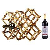 niceeshop(TM) Creativo Plegable Botellero de Madera Organizador Estante de Exhibición de 10 Botellas (Color Carbonizado)