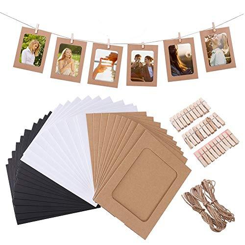 dgaf&bae Papier Bilderrahmen Fotorahmen aus Papier DIY Kreative Bilderrahmen Foto Hängende Anzeige Foto mit Mini Holzklammern und Hanfseil 30 Stück 3 Farben