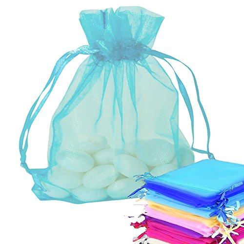 Risai 50 Stück kleine Organza-Beutel, Netzstoff, für Hochzeit, Party, Schmuck, Verpackung, Geschenkbeutel, Kordelzug, Beutel, Türkis, 7 x 9 cm