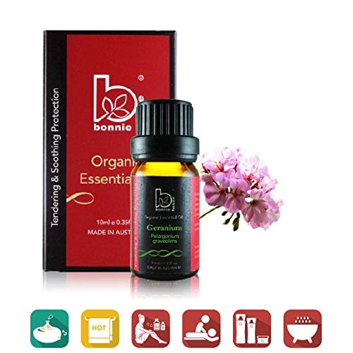 Geranium 10ml - Bonnie House Essential Oils – 100% Organic ACO and USDA Certified Organic, Therapeutic Grade and Aromatherapy Use for Massage, Diffuser, Air Humidifier, Gift Set and Kit