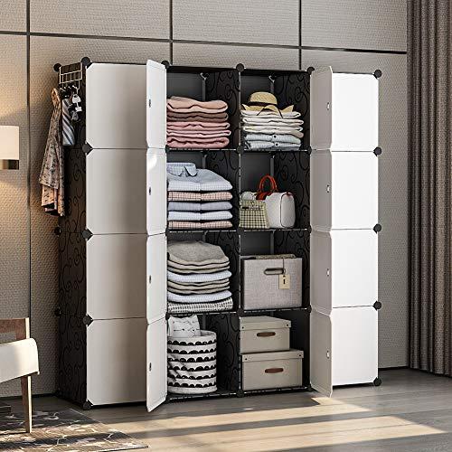 YOZO Modular Wardrobe Portable Closet Storage Organizer Clothes Rack Polyresin Bedroom Armoire Cubby Shelving Unit Multifunction Cabinet DIY Furniture Black 16 Cubes