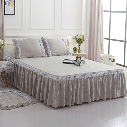 LAOSXNZHE Jupe de lit Style européen Matelassé Épaissir Couvre-lit Lace Solid Color Tissu lavé à la Main Simple équipé de Couverture Anti-dérapant-B 150x200cm(59x79inch) Version B