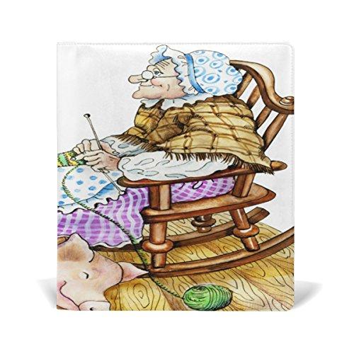 tizorax Granny mit Pig dehnbar Buch umfasst passend für die meisten Hardcover lehrbüchern. bis zu 9X 11. Klebstofffreie, PU Leder Schule Buch Displayschutzfolie. Leicht, um auf Jacke