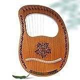 Lyre Harp, 16 arpa de cuerdas de metal, instrumento de caoba de madera maciza con llave de ajuste y curso de inglés para niños principiantes, el mejor regalo para el entusiasta de la música
