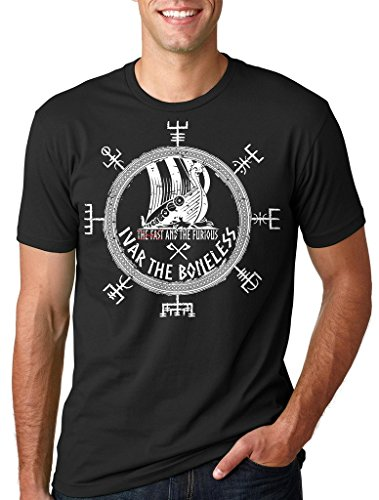 Silk Road Tees Ivar el sin Hueso de la Camiseta de los Hombres Divertidos Vikingos Valhalla Runa Camiseta Medium Azul Claro