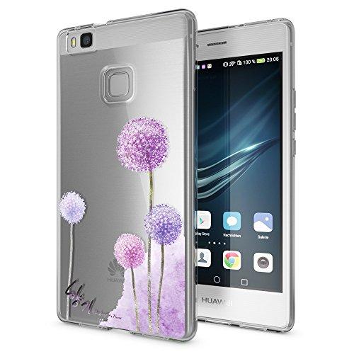 NALIA Handyhülle kompatibel mit Huawei P9 Lite 2016, Slim Silikon Motiv Case Cover Hülle Crystal Schutzhülle Dünn Durchsichtig, Etui Handy-Tasche Back-Cover Smart-Phone Bumper, Motiv:Dandelion Pink