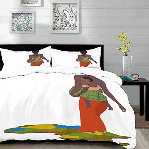 Yaoni Bedding Juego de Funda de Edredón - Mujer Africana, Madre con bebé en su Espalda África País Cultura Mapa del Continente,/Microfibra Funda de Nórdico y Fundas de Almohada - (Cama 150 x 200cm)