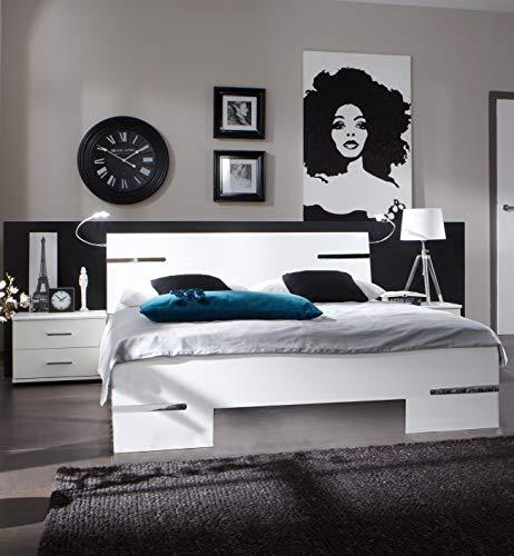 Wimex Schlafzimmer Set Anna, bestehend aus einem Bett und zwei Nächtschränken, Liegefläche 180 x 200 cm, Weiß