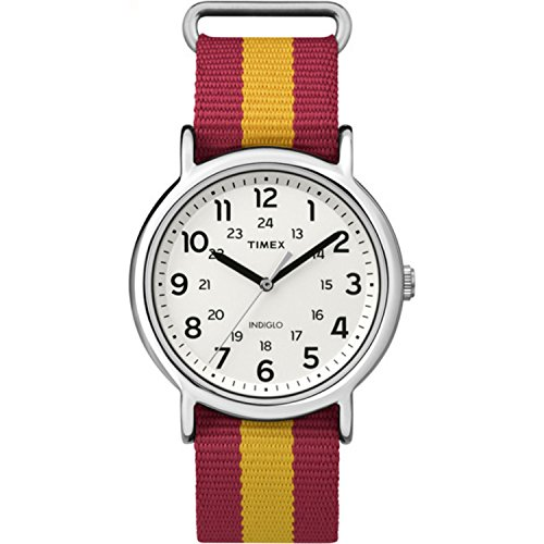 Timex Unisex TW2P67900 Weekender Red/Yellow Stripe Nylon Slip-Thru Strap Watch
