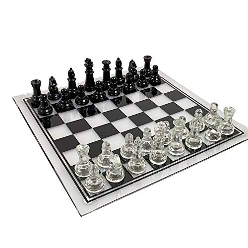 10 Inch Crystal Acrylic Chess Board Board is not Galss AntiBroken Elegant Glass Chess Pieces Chess Game Chess Set Strategy Game